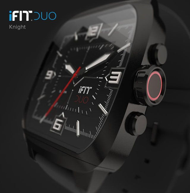 iFit Duo — Knight with square watch face.